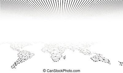 地球, 世界的である, map., ネットワーク, mesh.