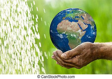 地球, 中に, 手