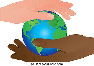 地球, 以及, 手