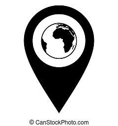 地球, 位置, ピン
