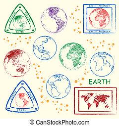 地球, 切手, セット