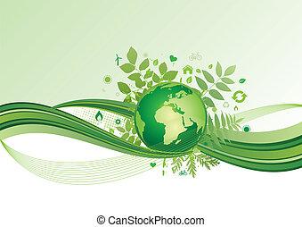 地球, 同时,, 环境, 图标, ba