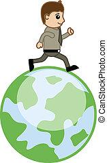 地球, 在上方, 矢量, 跑, 人