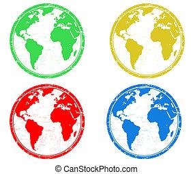地球, 地球儀, スタンプ