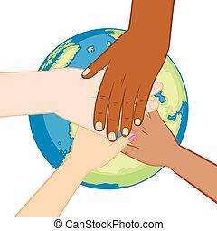 地球, 多様, エコロジー, 手