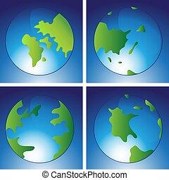 地球, 大陸, 地球, アイコン, セット