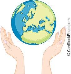 地球, 女, 手
