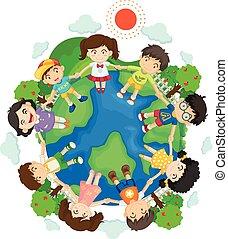 地球, 子供, のまわり, 手を持つ