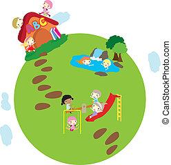 地球, 子供, 背景