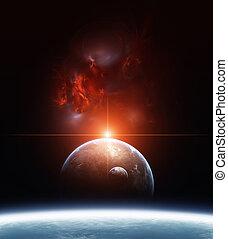 地球, 带, 行星, 同时,, 红, 星云, 在背景上