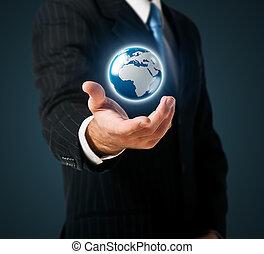 地球, 手掛かり, ビジネスマン, 手