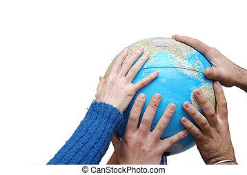 地球, 手, teamwok, 概念