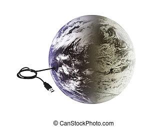 地球, 接続, usb