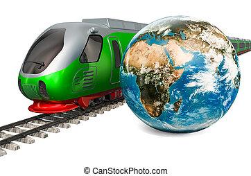 地球, 旅行, 世界的である, 柵, 高く, レンダリング, 列車, 地球, スピード, concept., 3d
