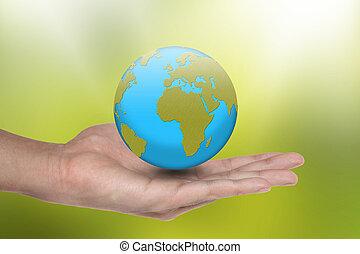 地球, 是, 在中, 你, 手
