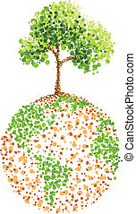 地球, 木, 絵, 点
