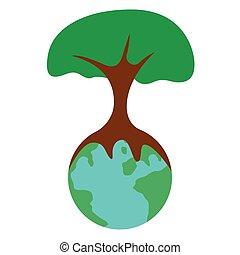 地球, 木, 隔離された
