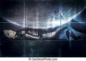 地球, 未来, 女性, 概念, 黒, ラテックス, ∥で∥, ネオンライト