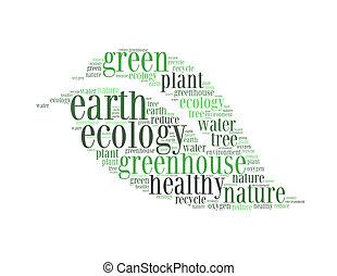 地球, 植物, 環境, エコロジー, 温室, 健康, テキスト, コラージュ, 作曲された, 中に, ∥, 形, の, 葉, ∥, 隔離された, 白