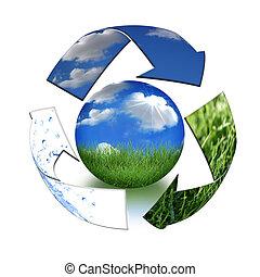 地球, 概念, 小心, 母親