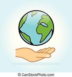 地球, 概念, 设计, 手