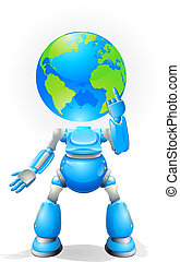 地球, 概念, 頭, ロボット