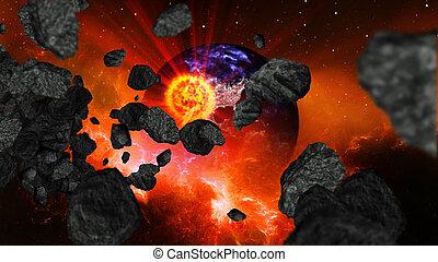 地球, 爆炸, 或者, 燃燒
