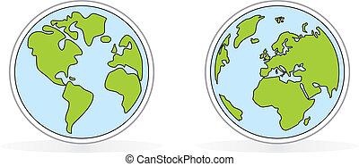 地球, 白, ベクトル, 隔離された