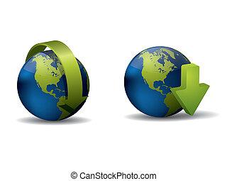 地球, 矢, アイコン