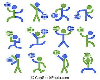 地球, 符號, 舉起, 人們