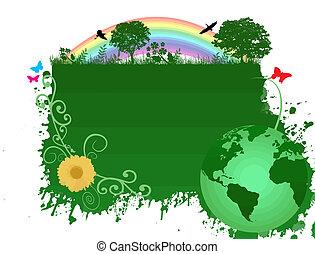 地球, 緑の背景