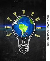 地球, 考え, 電球