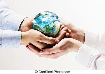 地球, 行星, 在, 手