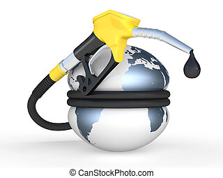 地球, 被擠壓, 以及, 燃料泵, 噴管, 由于, 下降, 油
