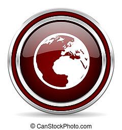 地球, 赤, グロッシー, 網, アイコン