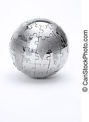 地球, 金属, 隔離された, 背景, 白, 困惑