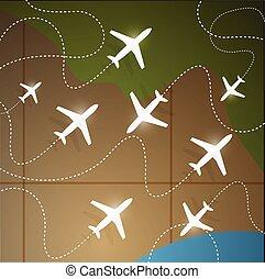 地球, 飛行, 大約, 飛機