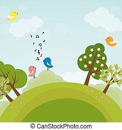 地球, 鳥, 樹, 卡通