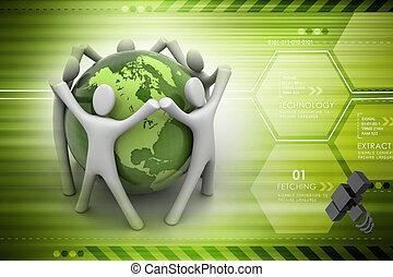地球, 3d, のまわり, render, 人々