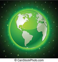 地球, america., -, 緑