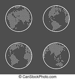 地球, emblem., ベクトル, 地球, set., アイコン