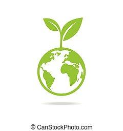 地球, icon., 緑, eco