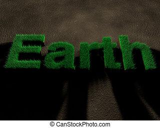 地球, spelled, によって, 手紙, 作られた, の, 草, 上に, soil., 概念, の, セービング, nature.