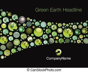 地球, swash, 緑, テンプレート, 背景