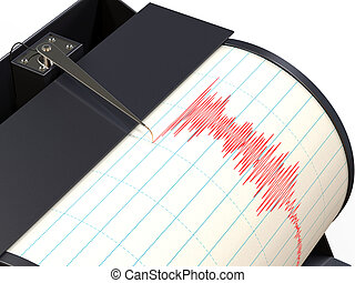 地震計, 道具, 録音, 地面, 動き, の間, 地震