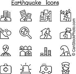 地震, アイコン, セット, 中に, 薄いライン, スタイル
