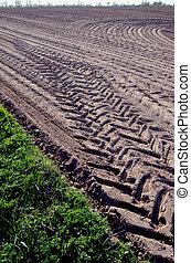 地面, とり壊された, トラック, 印, フィールド, 農業, 車輪