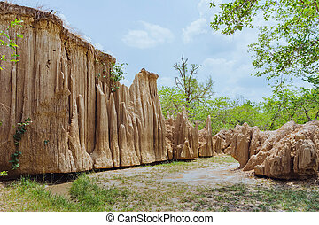 地面, によって, タイ, 崩壊, 浸食, 美しい, 持ちなさい, 土壌, 景色, 流れ, yub, 自然, 層, ...