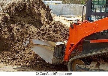 地面, ブルドーザー, 建設, 動く, 土壌, 堀る, 装置