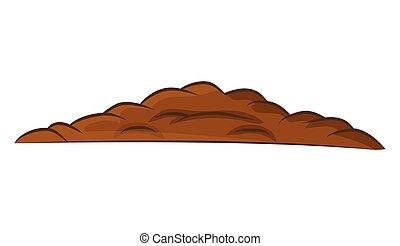 地面, 土壌, -, 隔離された, イラスト, バックグラウンド。, ベクトル, 山, 積み重ね, 白